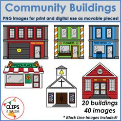 Community Buildings Clip Art for Digital & Paper Resources by Clips and Salsa Places In The Community, My Community, Community Helpers, Community Building, Kindergarten Art Projects, Classroom Projects, School Projects, Community Clipart, Communities Unit