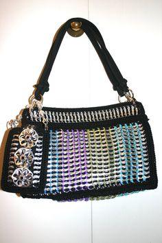 Leah - bolso de hombro Crochet de Pop Tabs - Satchel negro azul púrpura vegano Verde Teal