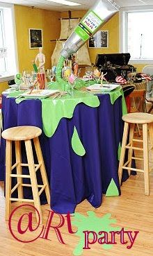 art party ^^ Table cloth/paint splatter idea