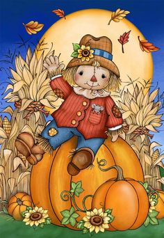 Fall Drawings, Halloween Drawings, Halloween Cards, Autumn Illustration, Halloween Illustration, Fall Pictures, Cute Pictures, Scarecrow Drawing, Cross Stitch Games