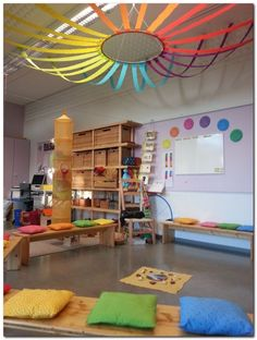 Classroom decor ideas for preschool ceiling decoration creche, kindergarten New Classroom, Classroom Setting, Classroom Design, Space Classroom, Infant Classroom Ideas, Infant Room Daycare, Early Years Classroom, Sunday School Classroom, Toddler Classroom