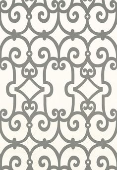 Wallcovering / Wallpaper | Manor Gate in Charcoal | Schumacher