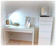 Malm vanity €100 Malm 6 drawer €100 Tysnes mirror €15 Desk Inspo, Ikea Mirror, Ikea Malm, Flat Ideas, Diy Garden Decor, New Room, Floating Nightstand, Drawers, Sweet Home