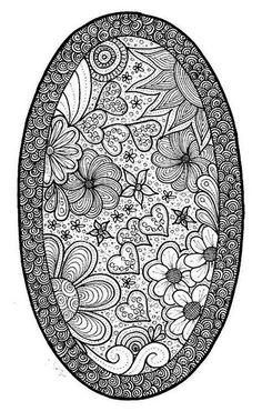 Coloring for adults - Kleuren voor volwassenen (oval frame, hearts and flowers)
