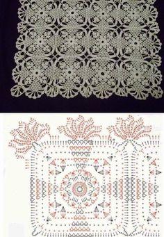 World Crochet: Napkin 41 - Diy Crafts - hadido Filet Crochet, Crochet Chart, Thread Crochet, Crochet Tablecloth, Crochet Doilies, Crochet Lace, Crochet Motif Patterns, Crochet Squares, Granny Squares