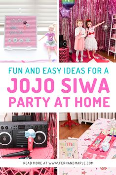 Sharing lots of fun and easy Jojo Siwa birthday party ideas for an at home celebration on Fern and Maple. www.fernandmaple.com - Come see all the super fun ideas for JoJo-themed activity ideas including an art station, bow making, glitter slime making and more. #kidspartyideas #jojosiwa #kidsparties #girlpartyideas #fernandmaple