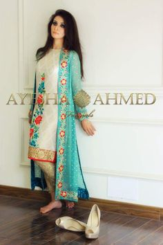 Pakistani Dress- Aqua Blue Chiffon Gown, Cigarette Pants Gold, Wedding Formals by KaamdaniCouture on Etsy