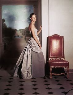 Balenciaga, November 1948 Evening dress of gray velvet and taffeta
