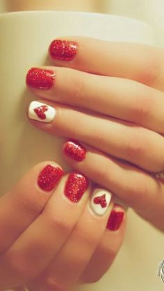 Cute Winter or Valentines day nails