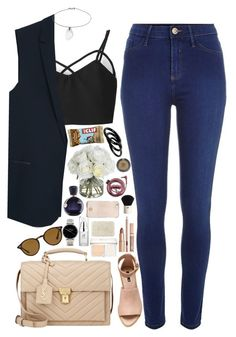 """""""♥"""" by polinachaban ❤ liked on Polyvore featuring MANGO, River Island, Nixon, Lacoste, H&M, Topshop, Ray-Ban, Yves Saint Laurent, Fresh and Christian Dior"""