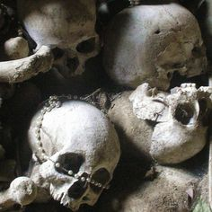 Skulls in the Fontanelle Cemetery Caves, Naples, Italy