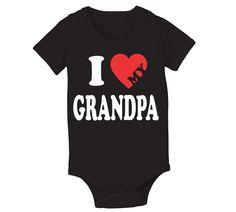 I Love Heart Grandpa Baby One Piece