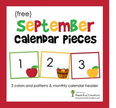 Free calendar number pieces for the month of September. Includes 3 sets of colored numbers to use for pattern activities via Homeschool Creations.