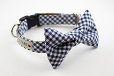 Navy Blue Gingham Bow Tie Dog Collar