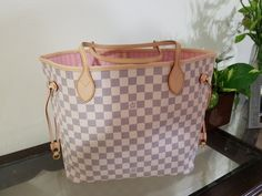 Neverfull Azur MM or GM with pouch 100% real cowhide leather and canvas