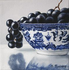 """Daily Paintworks - """"Black Grapes in Blue Willow"""" by Susan Sjoberg Grape Painting, Game Room Kids, California Colors, Food Artists, Black Grapes, Art Terms, Still Life Fruit, Abstract Canvas Art, Photo Canvas"""