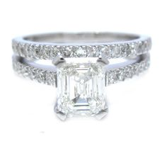 Emerald cut diamond engagement ring and band prong set by KNRINC, $4099.00