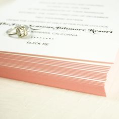 Pink Painted Edges Letterpress Wedding Invitation for black tie Santa Barbara wedding. Honey Paper is located in Santa Barbara County in Los Olivos, California. www.honey-paper.com Letterpress Wedding Stationery, Luxury Wedding Invitations, Black Tie Affair, Luxe Wedding, Painting Edges, Santa Barbara, Honey, California, Graphic Design