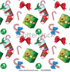 Vector illustration. Seamless pattern. Attributes of Christmas for your design christmas decorations, christmas sock, gift, holly, bow-knot, candy cane.