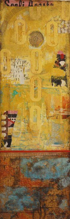 "Feb. 17th"", mixed media on canvas, 12x36"""