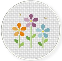cross stitch flower | Bunch Of Flowers Cross Stitch Illustration