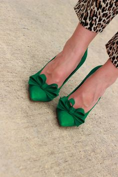 Emerald Bow Heels with Leopard Print Pants