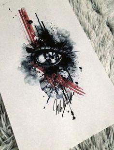 watercolor tattoo eye design