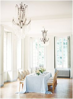 Reception setup | Tabletop setup | Light blue La Tavola linen | French chateau | Bows and Arrows Florals | Joy Proctor Design | French Wedding Inspiration | France Wedding | Destination Film Photographer | Paris Wedding | Fine Art Film Photographer |  Chateau De Carsix | Whiskers and Willow Photography