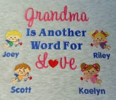 Cupid grandma personalized sweatshirt Embroidery Ideas, Machine Embroidery Designs, Vinyl Shirts, Cupid, Monogram, Kids Rugs, My Favorite Things, Sewing, Sweatshirts