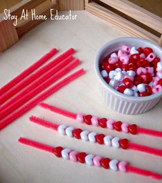 Patterning and fine motor practice in montessori inspired tray - Stay At Home Educator