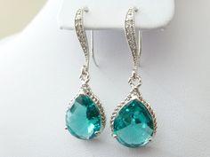 Blue Earrings - Blue and Green Earrings - Aquamarine Earrings - Bridesmaids earrings - Wedding Earrings  - Zirconia Ear wires. $26.00, via Etsy.