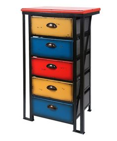 Take a look at this Blue & Yellow Five-Drawer Cabinet by Wilco on #zulily today - if the link no longer works, try searching the web for product and/or manufacturer - a Steampunk home doesn't have to be done in browns!