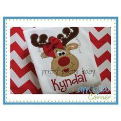 Reindeer Girl Pearls Applique Design