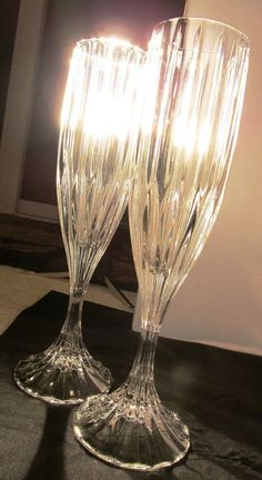 Pair of Crystal Champagne Flutes #Crystal