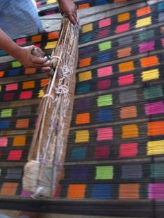 The yarn is combed before weaving to give the fabric a sheen and to take out yarn fluff. #Ikat