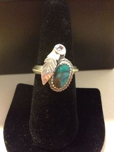 Old Pawn Turquoise Sterling Ring Size 9 Silver 925 Blue Stone Leaf Navajo Tribal Vintage Jewelry Southwestern Native Indian American OOAK US on Etsy, $45.00