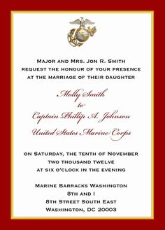 Custom 5x7 Military Wedding Invitation Marine By Starsandstripe 200 Corps Fairytale Weddings