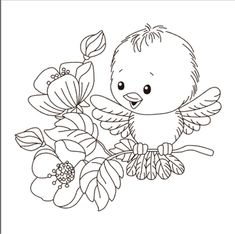 Cute Coloring Pages, Adult Coloring Pages, Coloring Sheets, Coloring Books, Hand Embroidery Patterns, Vintage Embroidery, Machine Embroidery, Animal Drawings, Cute Drawings