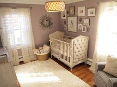 10 Pleasing Purple Nurseries Inspired By the Color of the Year. Love this vintage baby bed.