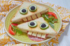 Funny sandwich for kids lunch on a table