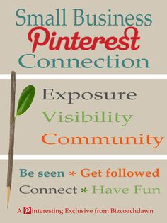 The Small Business Pinterest Connection is an opportunity for small business owners to connect with one another on Pinterest. Having a central location for us to meet gives us collective power and a chance to promote our products and services to a large and growing audience. Here are the steps to get the traffic going: 1) Leave your links (site, blog, store, and social media URLs) in the comments section. 2) Like/repin this pin  3)  Share the link on your social networks. You can follow me…