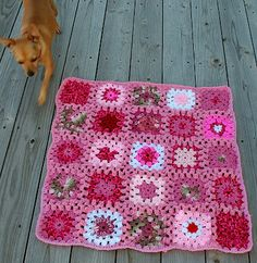 Granny Squares To The Rescue --Pink tones. Donate #granny squares to make dog blankets for rescue dogs! <3