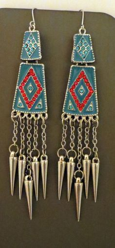 Cowgirl Bling Long Cowgirl EARRINGS Aztec Rhinestones Gypsy Southwest Tribal #design #danearringspierced