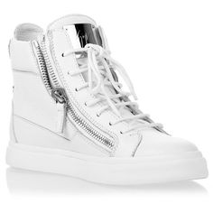 Giuseppe Zanotti White Leather Silver Sneaker ($735) ❤ liked on Polyvore