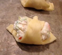 Crab and cream cheese crescent rolls. (Crab rangoon copy?)