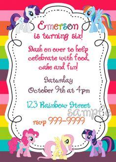 My Little Pony Invitation template Kaydens 5th Birthday