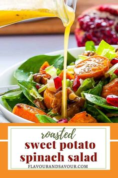 This Roasted Sweet Potato Spinach Salad with Maple-Glazed Walnuts, Pomegranate and Bacon makes a wholesome lunch or a festive fall salad for a holiday dinner. Caramelized sweet potatoes, maple-glazed walnuts, pomegranate arils and crumbled bacon . . . who could resist this tasty fall salad? #sweetpotato #spinach #bacon #walnuts #pomegranate Arugula Salad, Spinach Salad, Sweet Potato Recipes Healthy, Healthy Recipes, Glazed Walnuts, Fall Salad, Roasted Sweet Potatoes, Holiday Dinner, Pomegranate
