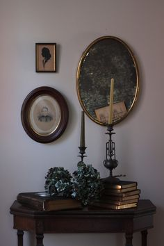 Justine Hand's $0 Front Hall Halloween vignette. Vintage pieces make it haunting, without being childish and kitschy
