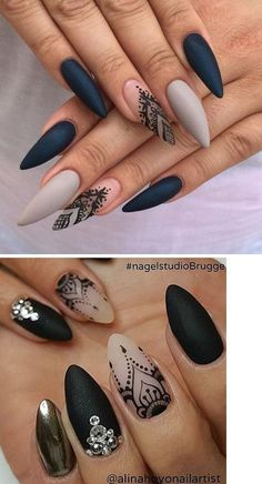 Such a … - Trend Nails Best Acrylic Nails, Matte Nails, Black Nails, Stiletto Nails, 3d Nails, Gothic Nails, Nails Design With Rhinestones, Nail Jewels, Thanksgiving Nails