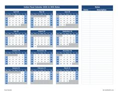 Indian Fiscal Calendar With Notes in 3 color schemes and available in different formats like excel, pdf and image format. Fiscal Calendar, Excel Calendar, Printable Calendar 2020, Blank Calendar, Yearly Calendar, Calendar Templates, 100 Years Calendar, Blue Color Schemes, Important Dates